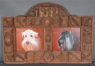 1918 Large Tramp Art Frame.