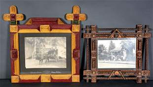 Pair of Tramp Art Frames with Black & White Photos.