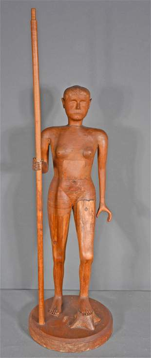 Carved Wooden Standing Woman.