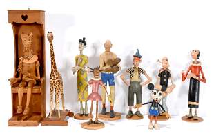 Walter Karl Ginther. Nine Carved & Painted Folk Figs.