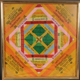 Colorful Antique Silk Cigar Label Wall Hanging.