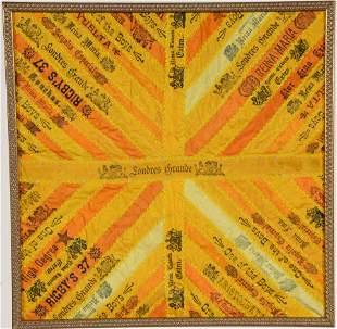 Golden Antique Silk Cigar Label Wall Hanging.