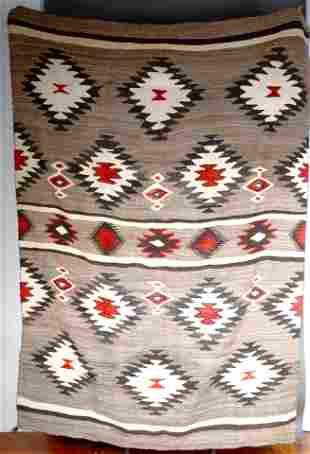 Navajo Red, Black & White Stars Wool Blanket.