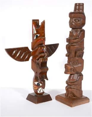 Salish and Tlingit Tribes. Model Totem Poles.