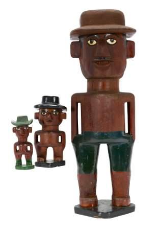 Three Primitive Western Figures.