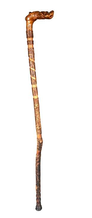 Dog Head Cane With Spiral Bark Decoration.