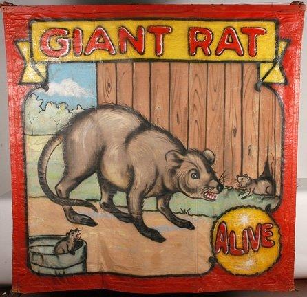 99: Fred Johnson. Giant Rat Freakshow Banner.