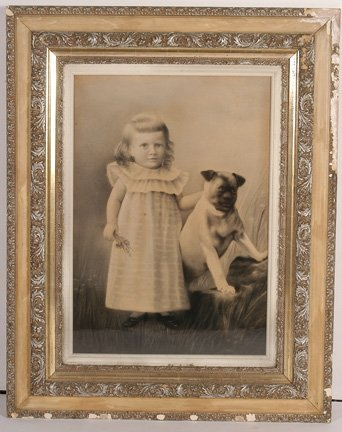 109: G. Schummen. Young Girl with Bulldog.