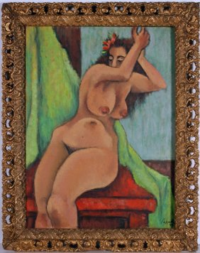 Robert Brady. Nude With Green Drapes.