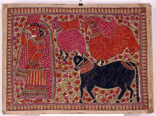 867: Painting from India.  Man Leading Horse.