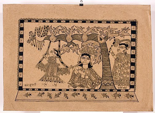 871: India Art.  Three Men In Tree.