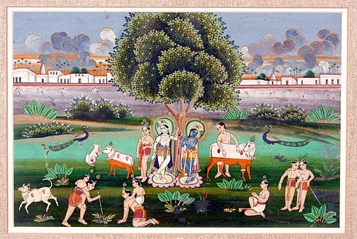 875: Jaipur School.  Lord Krishna & Cow