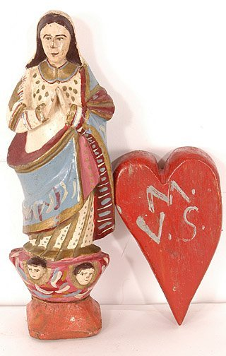 879: Virgin & Heart Carvings from Brazil.