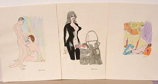 1130: Dorman. 3 Erotic Cartoon Drawings.