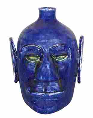 Edwin Meaders. Large Alien Blue Face Jug.