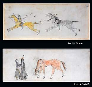 Sioux Ledger Drawings. Attack & Gifting.