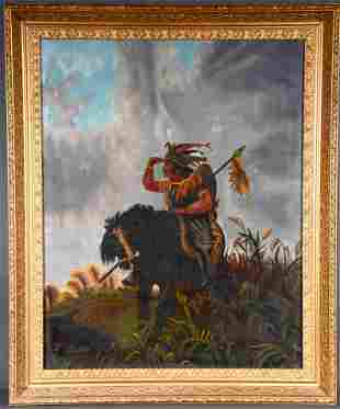 Indian on Horseback With Headdress.