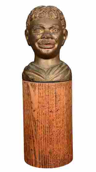 African American Male Bust In Gold Wash.