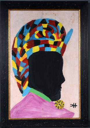 Clementine Hunter. Female Portrait.