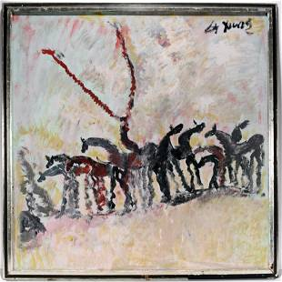 Purvis Young. Solo Rider On Horse Surrounded By Herd.
