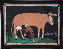 Jimmy Lee Sudduth. Milking The Cow.
