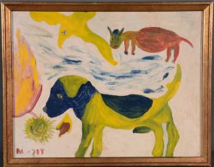 Mose Tolliver. Early Painting of Dogs and Birds.