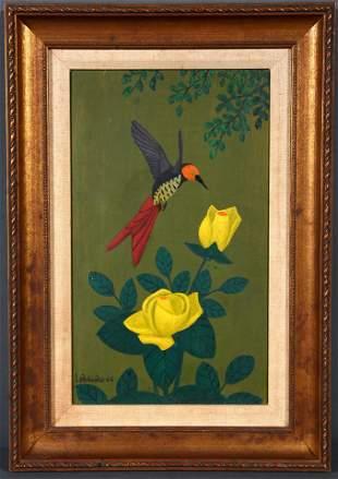 Lawrence Lebduska. Hummingbird & Yellow Roses.