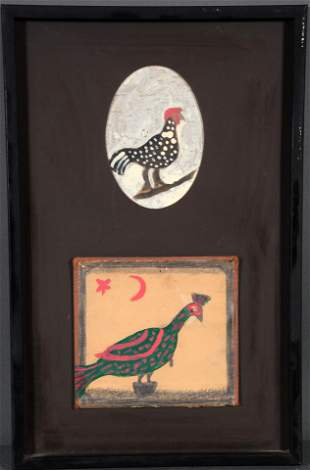 Willie Massey. Two Bird Paintings Framed Together.