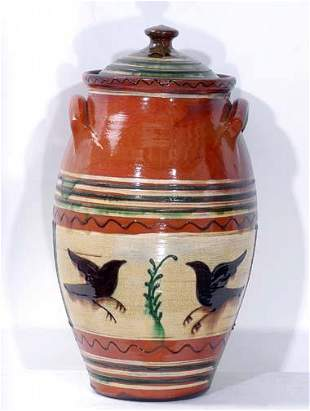 Fred Keith Large Redware Vase with Lid