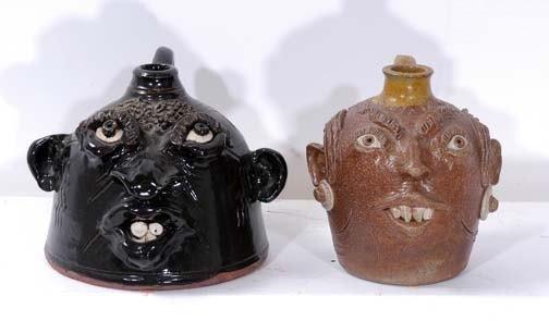 7: John Brock Pair of Miniture Face Jugs
