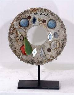 150: Howard Finster Round Concrete Sculpture