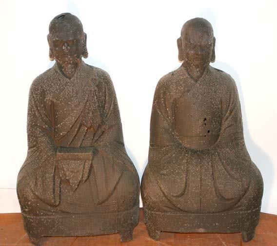 624: Pair of Buddist Priest Metal Statues