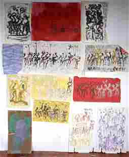 Purvis Young. 13 Works On Cloth & Mixed Media.