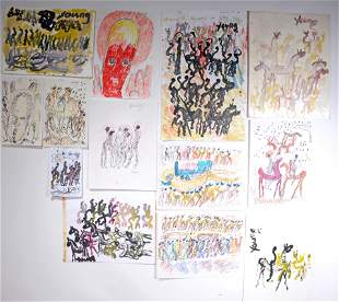 Purvis Young. 13 Works On Paper.