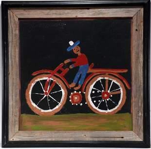 Jimmy Lee Sudduth. Riding His Bike.