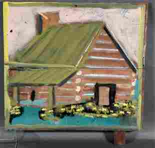 Jimmy Lee Sudduth. Log Cabin With Green Roof.