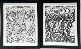 Ted Gordon. Pair of Black & White Faces.