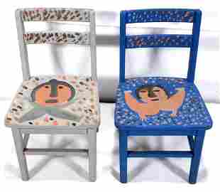 Mose Tolliver. Decorated Children's Chairs.