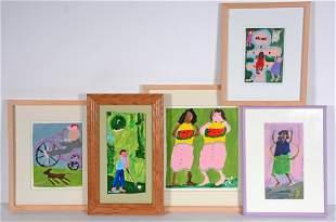 Woodie Long. 5 Paintings Of Kids Playing.