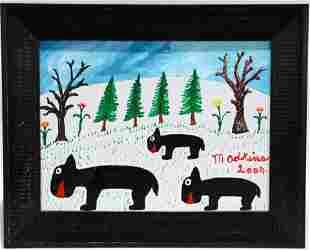 Minnie Adkins. Bears In The Snow.