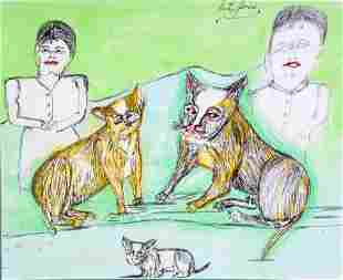 S.L. Jones. Couple With Cats.
