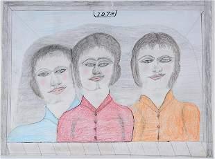S.L. Jones. Sisters & Dog Dbl Sided Drawings.