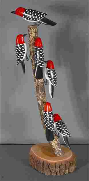 Lonnie & Twyla Money. Woodpeckers On Tree.
