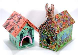 Howard Finster & Jeff Payne. 2 Bird Houses.