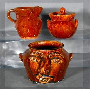 Brown & Jugtown Pottery. Face Jug, Sugar Bowl, Creamer.