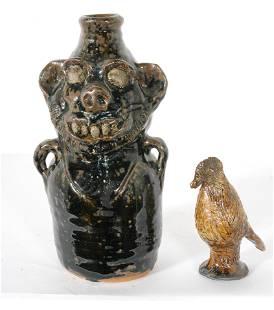 Marie Rogers. Bottle Figure & Ceramic Bird.