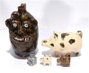 Marie Rogers. Face Jug With 3 Pigs & Mini Jug.
