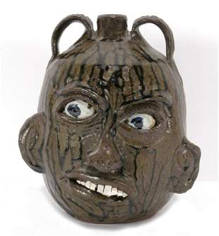 Chester Hewell. Double Handle Face Jug.