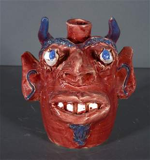 Jerry Brown. Small Red Devil Face Jug.