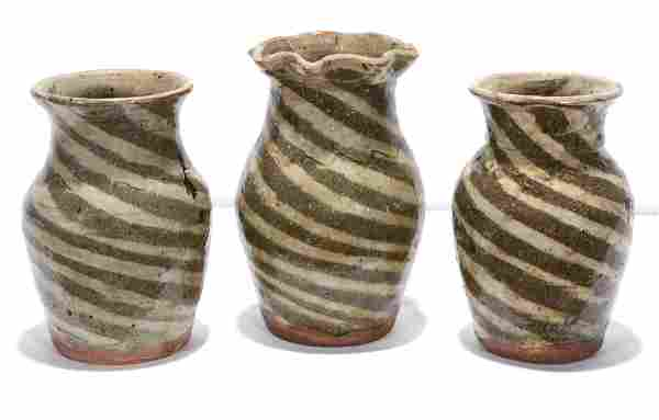 B.B. Craig. 3 Pint Size Swirl Vases.